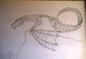 wyvern sketch before the base shading went on