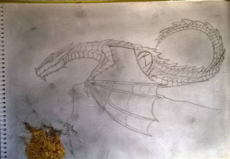 wyern sketch with graphite base applied
